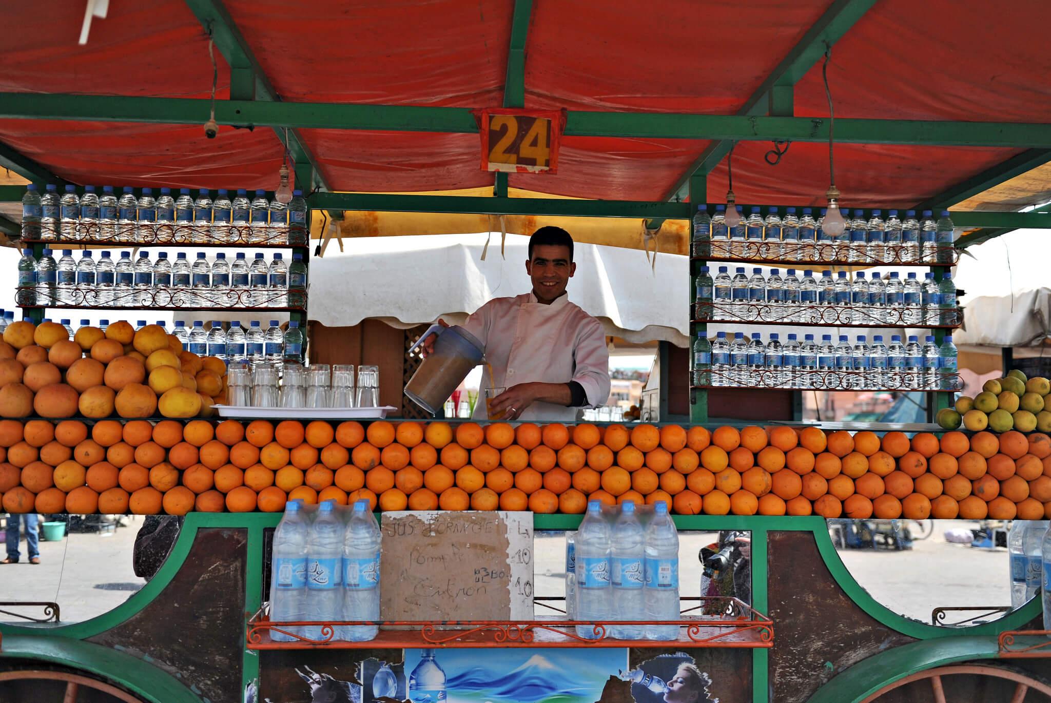 Jus d'oranges place Jemaa el Fna